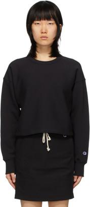 Champion Reverse Weave Black Cropped Crewneck Sweatshirt