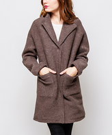 Taupe Wool-Blend Coat