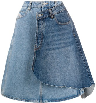Diesel wraparound A-line denim skirt