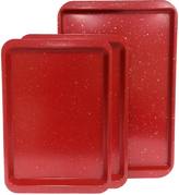 Red Granite Three-Piece Cookie Sheet Set