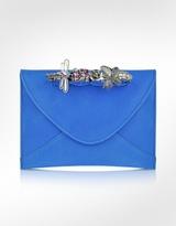 Maison du Posh Blue Leather Knuckle Clutch