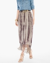 Chico's Tie-Dye Fringe Maxi Skirt