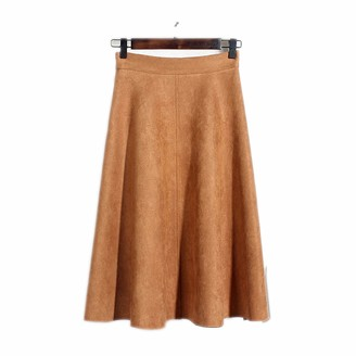 First Ring Soft Faux Suede High Waist Midi Skirt Flare Hem Elastic Band at Back Vintage Womens Skirts-Camel-One Size