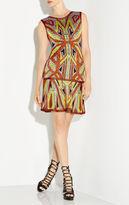 Herve Leger Danika Geometric Jacquard Flounce Dress