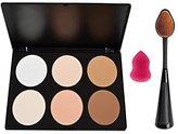 Makeup Palette ,Start Makers 6 Colors Contour Highlighting Kit Oval Toothbrush and Mini Sponge
