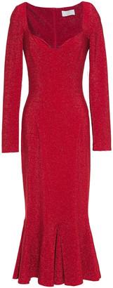 Sara Battaglia Fluted Metallic Jersey Midi Dress
