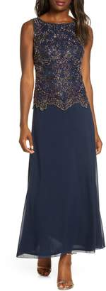 Pisarro Nights Beaded Mock Two-Piece Gown