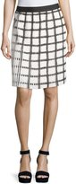 Max Studio Check Pleated A-Line Skirt, Black/Off White