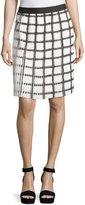 Max Studio Check Pleated A-Line Skirt, Black/Off White