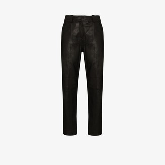 Balmain High Waist Leather Trousers