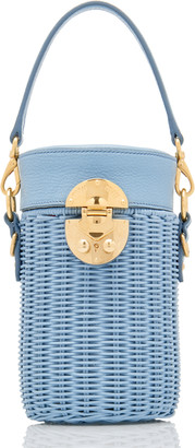 Miu Miu Midollino Leather-Trimmed Rattan Bucket Bag