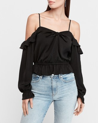 Express Bow Front Cold Shoulder Peplum Top