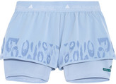 adidas by Stella McCartney Studio Leopard-print Climalite® Shell And Mesh Shorts - Sky blue