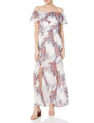 My Michelle Women's Off The Shoulder Printed Maxi Dress