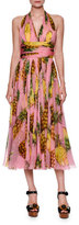 Dolce & Gabbana Pineapple-Print Halter Dress, Bright Pink/Yellow