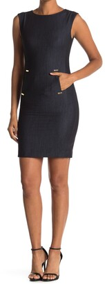 Calvin Klein Denim Front Tab Pocket Sheath Dress