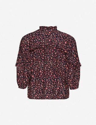 Frame Cali floral-print silk top