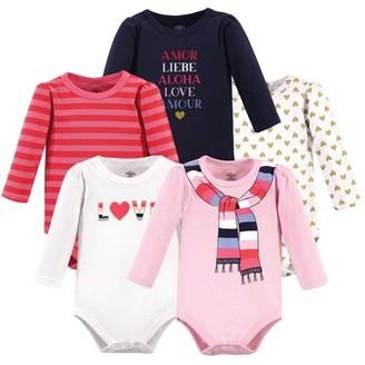 Little Treasures Little Treasure Baby Girl Long Sleeve Bodysuits, 5-Pack