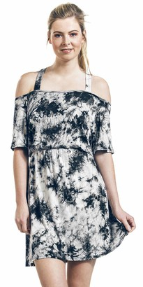 Innocent Saga Tie Dye Women Short Dress Grey S 95% Viscose 5% Elastane Regular