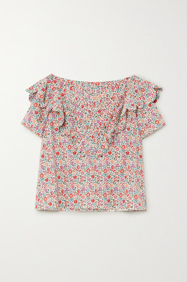 Horror Vacui Flabella Scalloped Floral-print Cotton-poplin Blouse - Pink