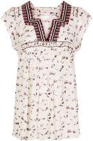 Ulla Johnson Gardenia Silk Floral Embroidered Anosha Top