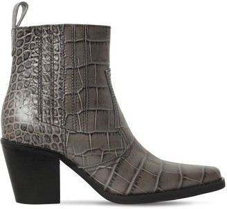 Ganni 70mm Western Embossed Croc Leather Boots