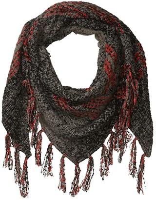 Collection XIIX Ombre Boucle Glem Plaid Triangle Wrap (Black) Scarves