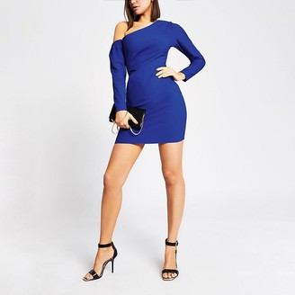 River Island Bright blue one shoulder bodycon mini dress
