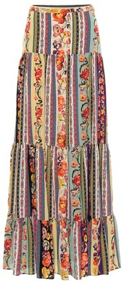 Etro Printed silk maxi skirt