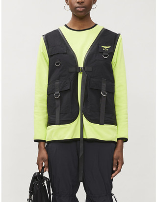Boy London Vest-overlay cotton-jersey and shell jumper