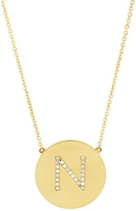 Sterling Forever 14K Gold Plated Sterling Silver CZ Round Initial Necklace