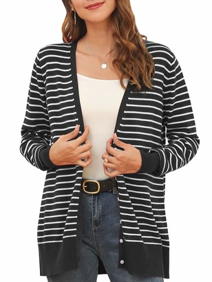 MessBebe Womens Stripe Cardigan Button Down Lightweight V Neck Knit Sweater Colorblock Open Front Long Sleeve Casual Top