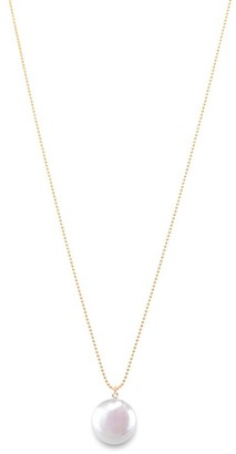Ora Pearls Sphera Disc Pearl Pendant Gold Chain