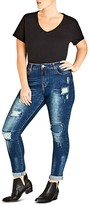 City Chic Apple Patched Skinny Jeans in Mid Denim