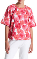 Joan Vass Pleated Floral Print Blouse