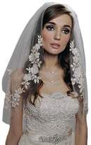 SIQINZHENG 2 Layer Lace Appliques Edge Short Tulle Wedding Bridal Veil