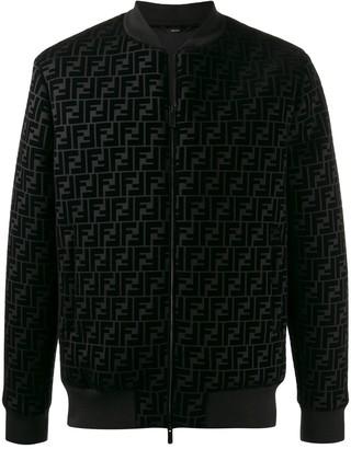 Fendi Logo Textured Bomber Jacket