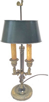 One Kings Lane Vintage Rooster Double-Arm Tole Bouillotte Lamp - Vermilion Designs - black/brass
