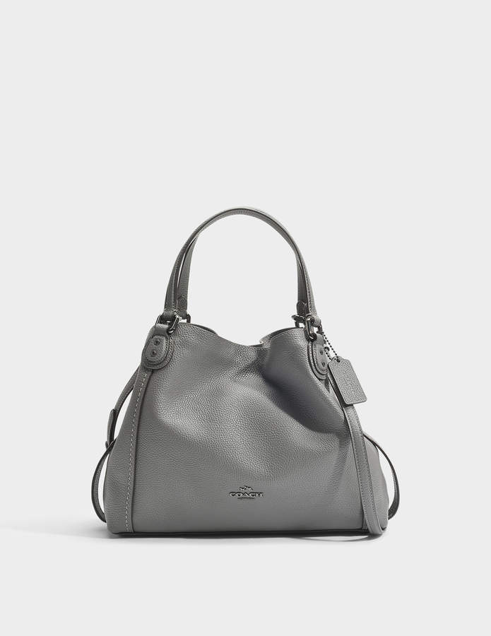 Coach Edie 28 Shoulder Bag in Grey Calfskin