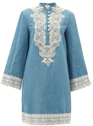 Gucci Lace-trimmed Stonewashed Chambray Dress - Blue