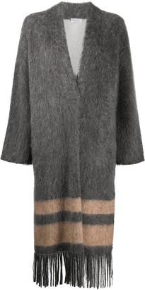Brunello Cucinelli Textured Fringed Edge Cardi-Coat