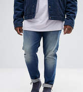 Asos PLUS Skinny Jeans In Dark Wash Blue With Abrasions