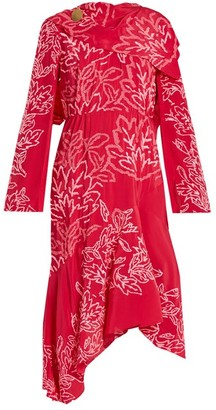 Peter Pilotto Floral-embroidered Silk-crepe Dress - Womens - Pink Multi