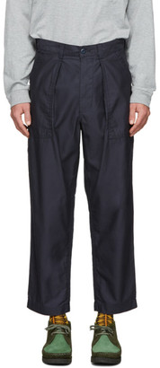 Beams Navy Pleated Sateen Trousers