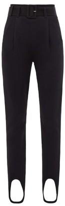 Self-Portrait Belted Stirrup-cuff Jersey Leggings - Black