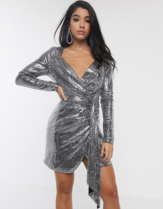 Pretty Darling sequin wrap long sleeved dress