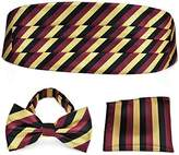 Pense'e PenSee Formal Burgundy Gold Stripe Pre-tied Bow Tie & Pocket Square & Cummerbund Set