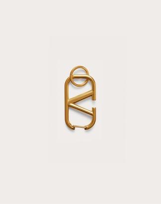 Valentino Vlogo Signature Keychain In Lacquered Metal Women Antique Brass Brass 100% OneSize