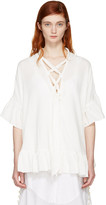 See by Chloe White Cotton Ruffle Blouse