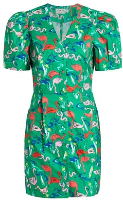 Tanya Taylor Augustine Flamingo Print Dress